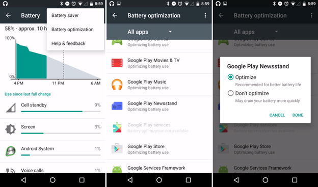 Android Marshmallow 6.0 Feature Battery Optimizations