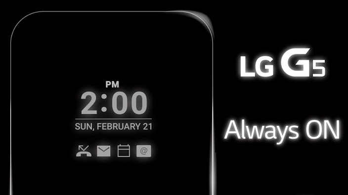 Always on Display - A feature of LG G5 Smartphone