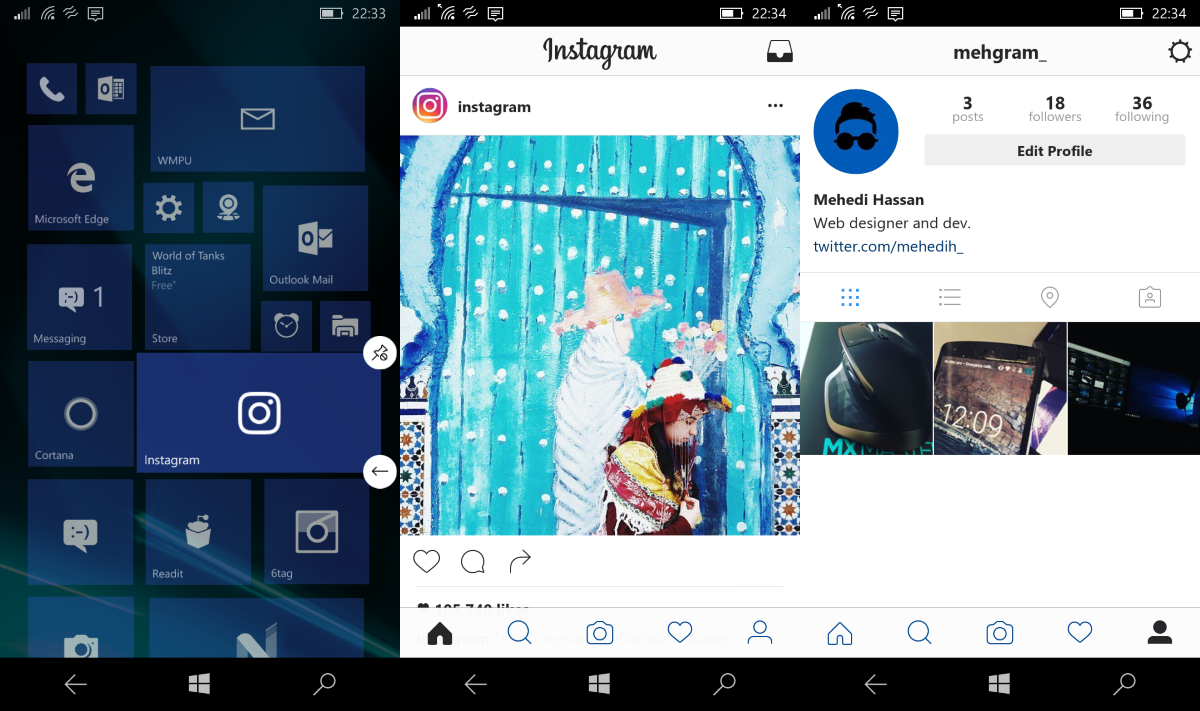 Instagram on Windows Smartphones now has the latest UI