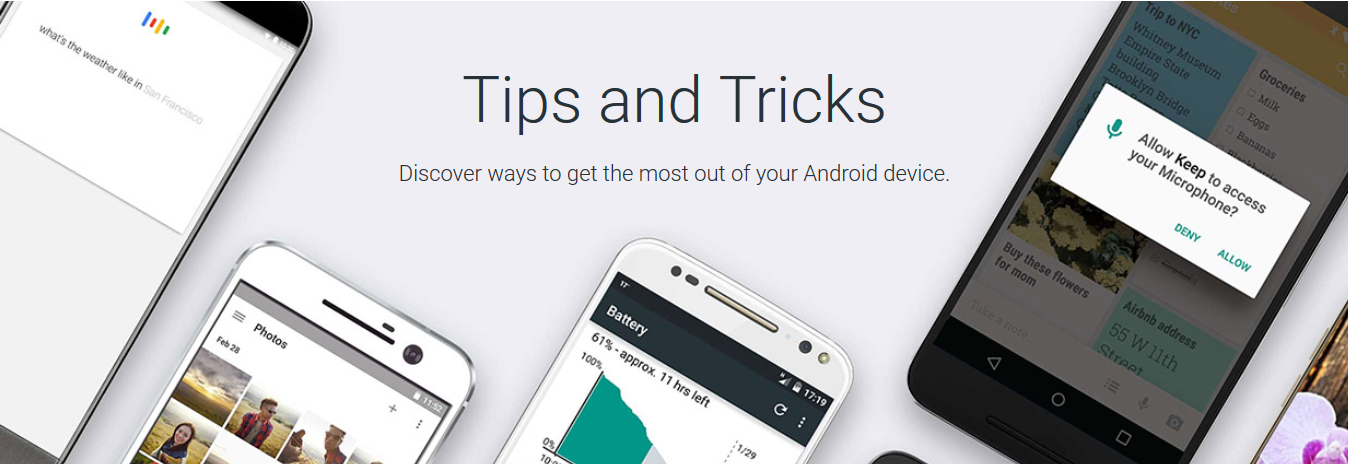 How to find the tips and tricks of Android