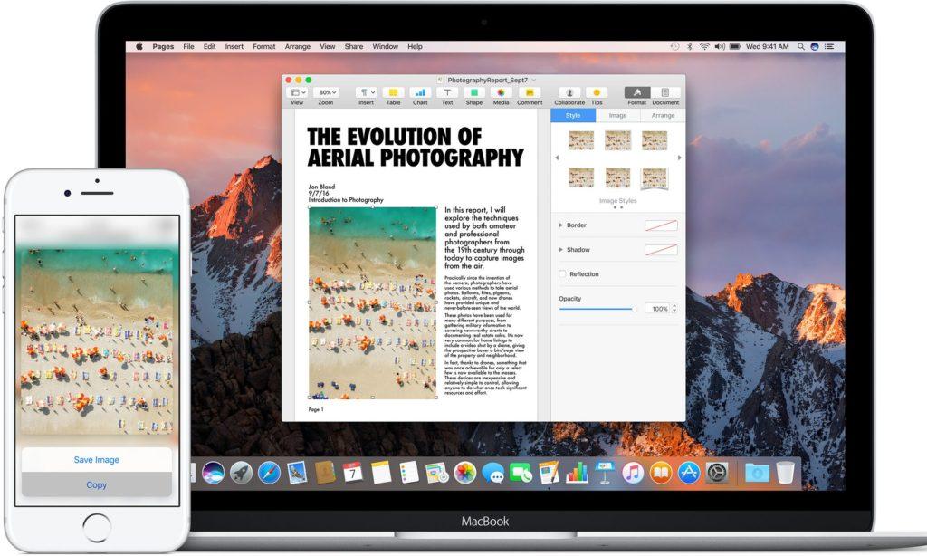 Mac OS Sierra universal clipboard