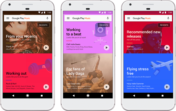 Google Play Music updated with a fresh UI
