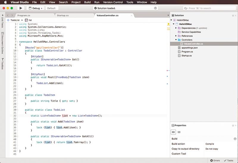 Microsoft Visual Studio on Mac