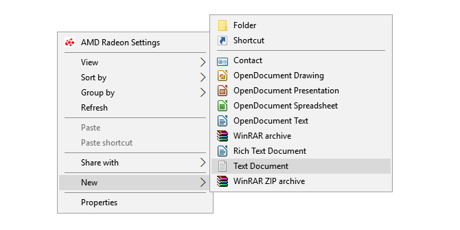 create new text file