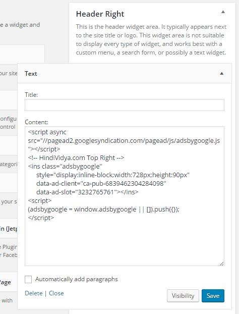 add adsene code in wordpress blogs