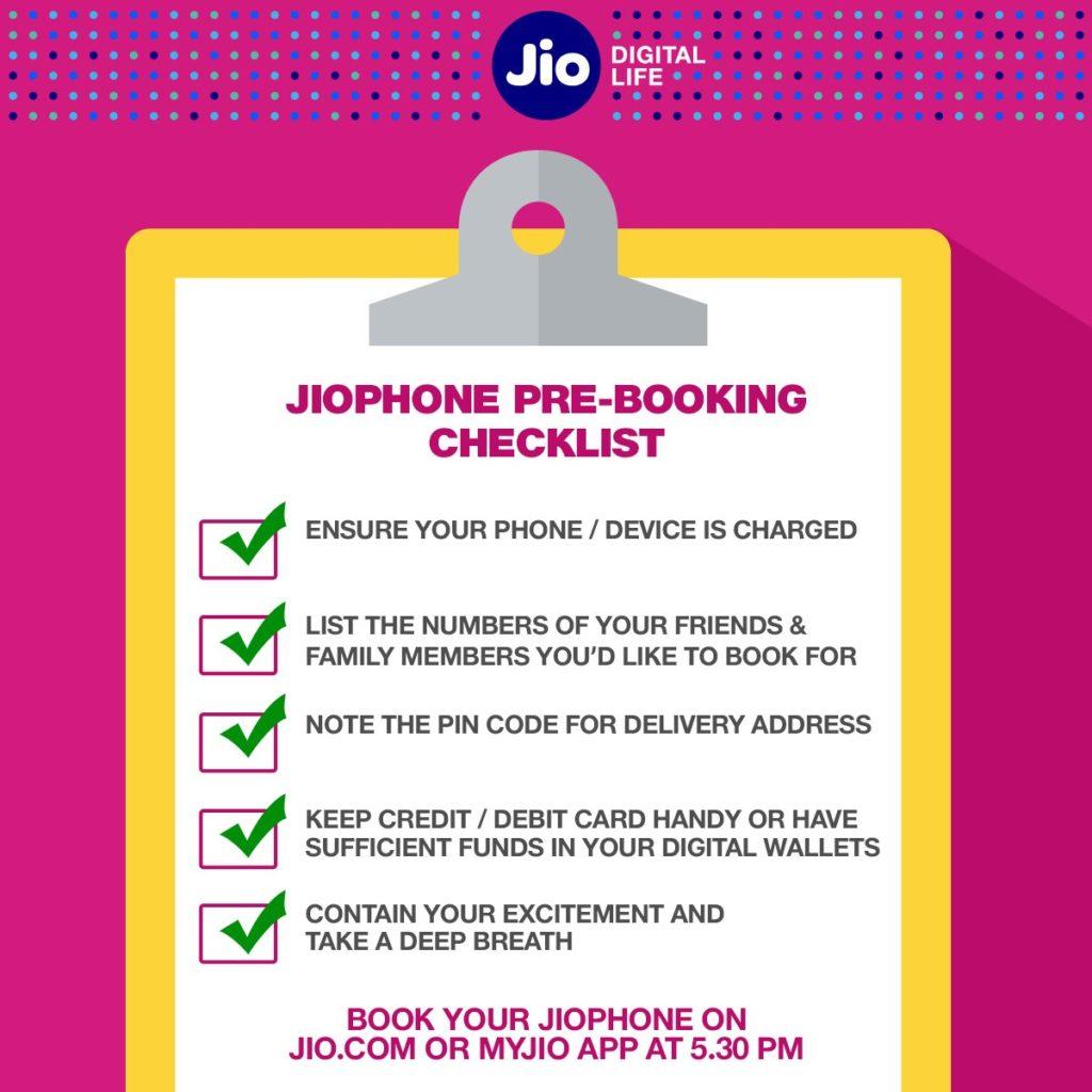 jiophone booking checklist