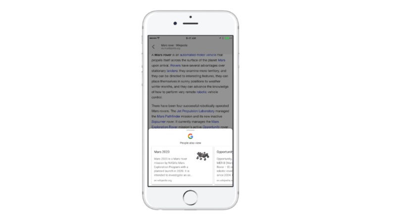 google for ios suggests recommended articles