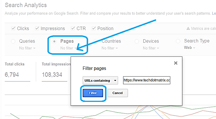find the position of your page URL in Google Search Engine