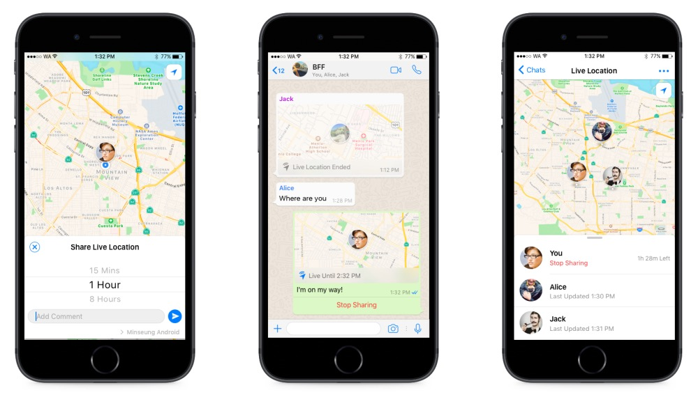 whatsapp live location feature for iOS and android