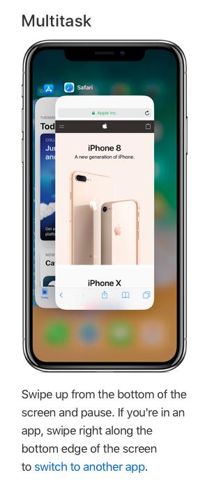 multi-tasking on iPhone X