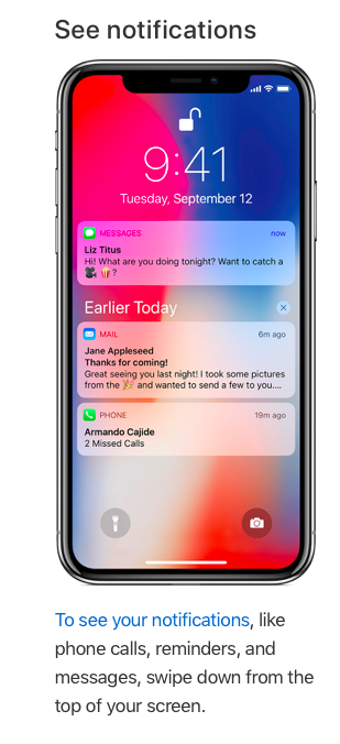 Notifications on iPhone X