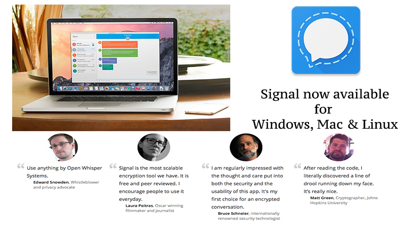 signal standalone desktop app for mac, windows and linux users