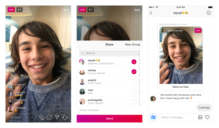 Instagram Live Video Sharing via Direct Messaging feature