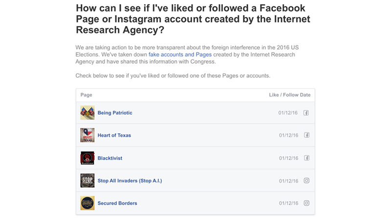 How to see if you have liked any Russian troll accounts on Facebook?