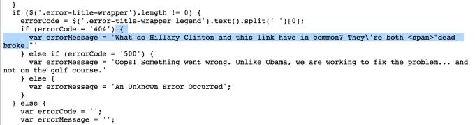 trump website error