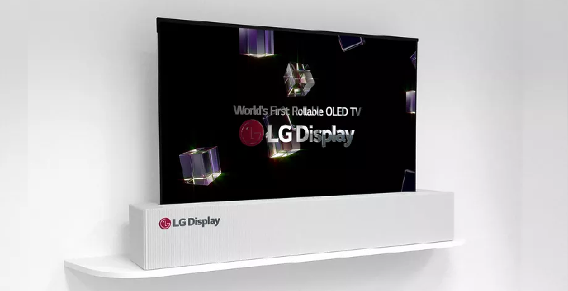 LGD 65 inch UHD rollable OLED display by LG