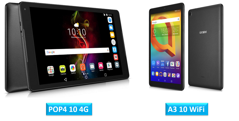 Alcatel POP4 10 4G and Alcatel A3 10 WiFi tablets