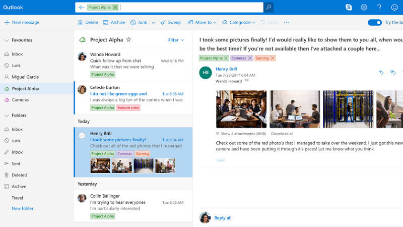 microsoft outlook com new design