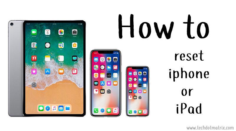 reset iphone or ipad