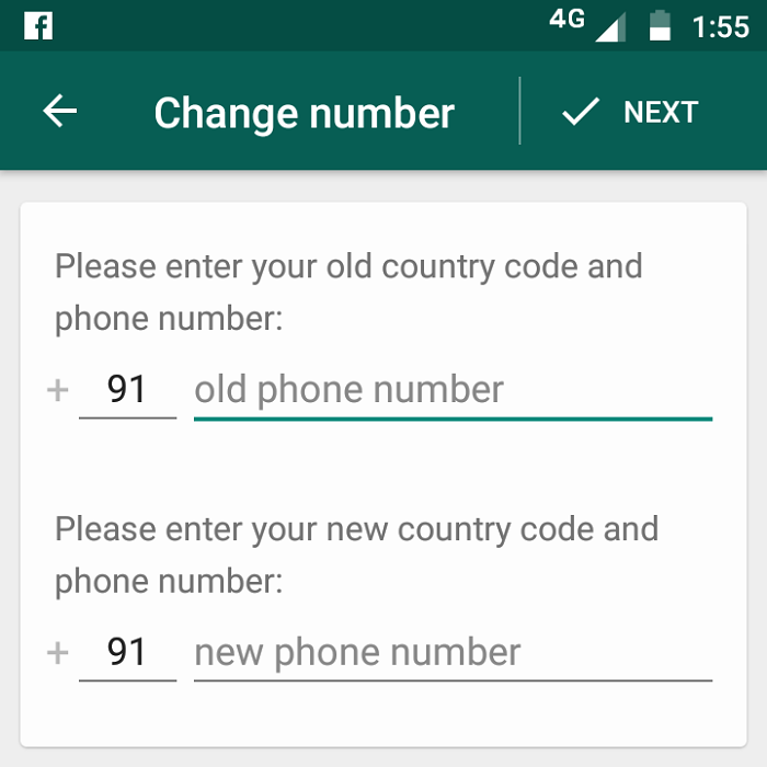 Change Number on WhatsApp on Android