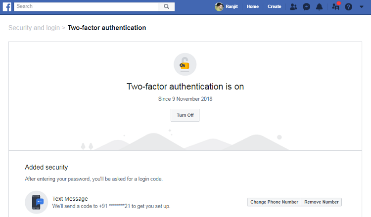 Two-factor authentication is ON