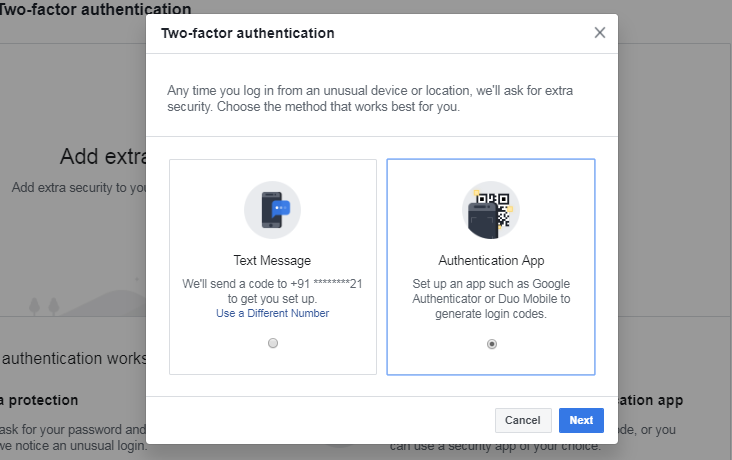 Two-factor authentication via authentication app
