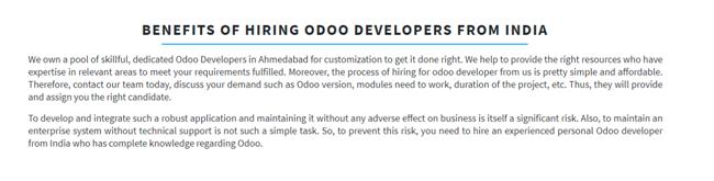 Benefits of Hiring Odoo Developers